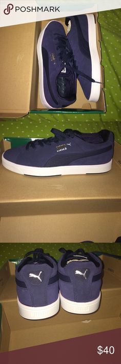 Navy blue Puma Suedes Navy blue and white puma Suedes, brand new, and never worn! They're a men's size 8, or 26 cm. Puma Shoes Sneakers