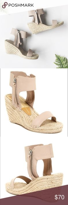 Dolce Vita Ankle Wrap Wedge Espadrilles The perfect shoe for spring! Wedge espadrille sandals by Dolce Vita with ankle wrap leather strap, zip detail with tassel. Color is a nude with a slight tinge of blush. Size 8, never worn. So beautiful! Dolce Vita Shoes Espadrilles