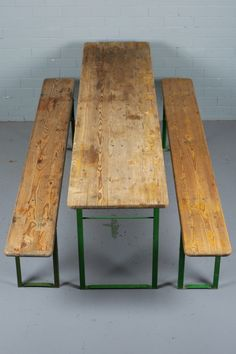 German Beer Hall Table and Benches