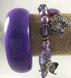 Fashion Jewelry Lot Purple Bracelets Butterfly Charms Silver tone w Bangle #Unknown #Chain