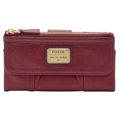 Fossil 'Emory' Leather Clutch Wallet ($65) ❤ liked on Polyvore featuring bags, wallets, maroon, red leather bag, leather clutch wallet, pocket wallet, clutch wallet y red wallet