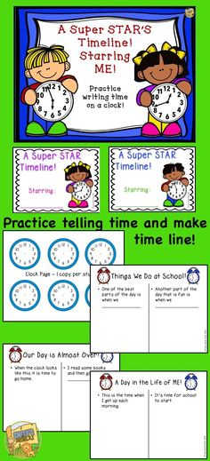 Telling Time and Timelines! Make a cute, engaging booklet to practice drawing the hands on a clock and creating a timeline! Math Worksheets, Math Resources, Math Activities, Comprehension Activities, Reading Comprehension, Create A Timeline, Teaching Math, Teaching Ideas, Thing 1