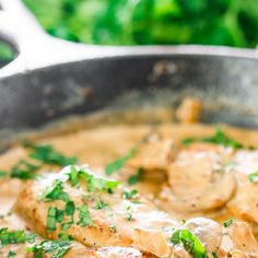 Chicken in White Wine Sauce with Mushrooms Recipe Main Dishes with chicken breasts, white mushrooms, butter, white wine, onions, garlic, half & half, flour, salt, pepper, parsley