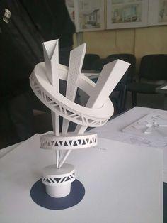 춤추는것같고 뭔가 돌아갈것같은 율동감이 느껴짐 훌라우프처럼. 선들이 두께가 확장되는게 웅장 Architecture Model Making, Architecture Concept Drawings, Paper Architecture, Landscape Architecture Design, Interior Architecture, Geometric Origami, Geometric Art, 3d Design, Design Model