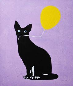 COOL画「風船をくわえた猫(黄)」[IROSOCA] | ART-Meter