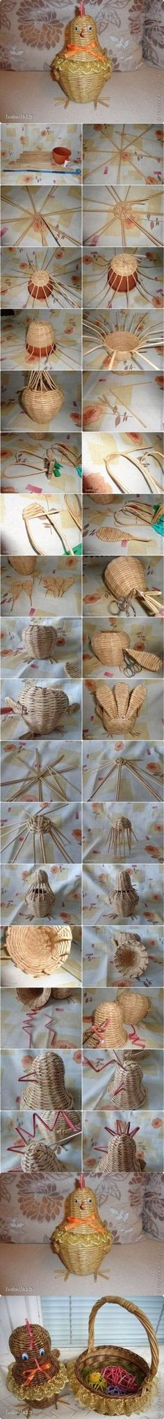 DIY Weaving Paper Chicken Basket 2 by magdalena