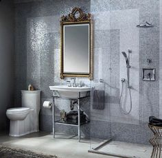 Tiled Wall + Glass Shower + Gilded Mirror