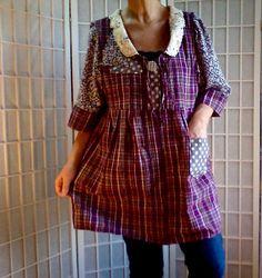 74Feminine Mini Dress Lolita Jeans Top Women's Teen by ArtzWear