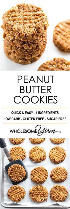 Sugar-Free Low Carb Peanut Butter Cookies Recipe - 4 Ingredients - Want to know how to make homemade peanut butter cookies without flour? You'll love this sugar-free low carb peanut butter cookies recipe. #SugarFreeCookieRecipe #LowCarbCookieRecipe #HealthyCookieRecipe