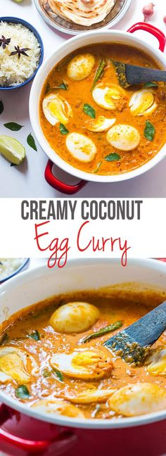 how to make south indian style egg curry, inspired by Kerala cuisine. Easy, comforting and creamy egg curry recipe!Learn how to make south indian style egg curry, inspired by Kerala cuisine. Easy, comforting and creamy egg curry recipe! Veg Recipes, Curry Recipes, Indian Food Recipes, Asian Recipes, Vegetarian Recipes, Cooking Recipes, Healthy Recipes, Ethnic Recipes, Best Egg Curry Recipe