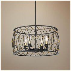 "Dellroy 20"" Wide Bronze 4-Light Pendant Light"