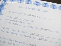 Father's Day Printable : all about my dad - a little delightful