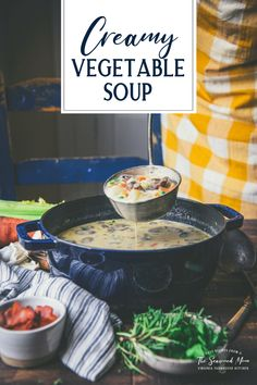 This creamy vegetable soup is full of fresh veggies, herbs, potatoes and cheese, then finished with a touch of smoky bacon. Serve a bowl of the easy chowder for a cozy lunch or dinner on chilly days. It's delicious with a side of cornbread, a loaf of crusty baguette, or some warm, flaky buttermilk biscuits!
