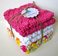 Crocheted Washcloth Set by HaladaMade on Etsy