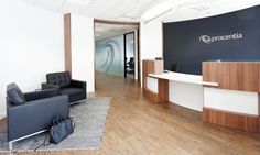 Office reception of Procentia, an IT Software company, in Bristol needed a contemporary and fresh office design to reflect their corporate image.