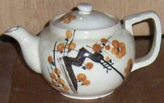 Vintage Individual Made in Japan Pottery Tea Pot with Brown Flowers