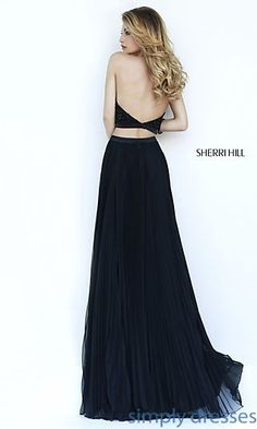 Black Pleated Sherri Hill Two Piece Long Gown