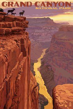 Grand Canyon National Park - Bighorn Sheep on Point - Lantern Press Poster