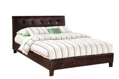 Rochester Modern Brown PVC Platform Queen Bed