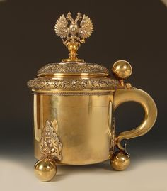 A massive Faberge Imperial Presentation jeweled and silver gilt covered tankard, workmaster Stefan Wakeva, ST Petersburg, circa 1899-1903.    Exhibitor: John Atzbach