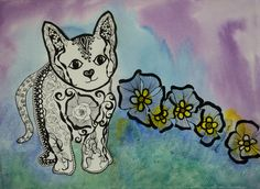The Kitten. Watercolor and Ink on 140lb arches