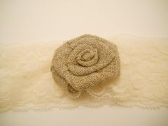 Blush Baby Lace headband with a Burlap Flower! seriously the cutest thing...