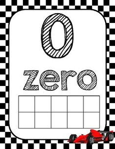 Race Car Themed Number Posters with Ten Frames and Flash Cards Number Posters, Number Words, Page Number, Ten Frames, New School Year, Going Back To School, Math Centers, Classroom Decor, Helping Others