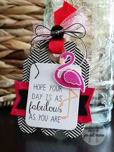 Tag by Jen del Muro. Reverse Confetti stamp set: Fabulous Flamingo. Confetti Cuts: Fabulous Flamingo, Tag Me Too, Class Act and Tag Me. Birthday card. Friendship card. Flamingos.