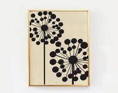 Black Dandelion Mid Century Modern Wall Art by LovelyPosters Boho Hippie, Reproductions Murales, Triangle Print, Mid Century Modern Art, Flower Wall Decor, Kitchen Wall Art, Minimalist Poster, Modern Wall Art, Flower Art