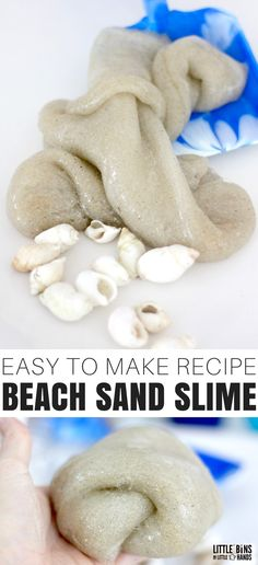 Bring the beach to your kitchen like we did with our awesome homemade sand slime recipe! Whether you use sand from the beach, sand box, or craft store, making sand slime is a hit with the kids. Whenever we go to the beach I like to take a little of it home with me. Use one of our basic slime recipes to make the coolest beach or ocean theme slime ever.