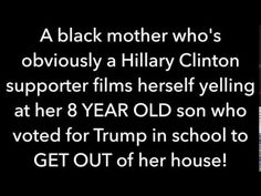 """SHOCKING! Heart Breaking Video: Black """"Mother"""" EVICTS her 8 YEAR OLD Son from her House for Voting Trump in a Mock Election at School. This Monster is Inflicting Psychological Harm on her Sons and Apparently Leaves Him Out on the Sidewalk as he CRIES and she Abandons Him. It is Unknown whether or not he was """"Allowed"""" Back in his Home. -YouTube"""