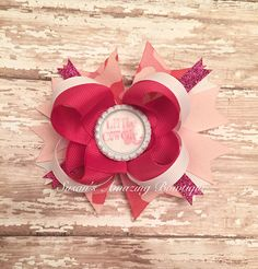 """Pink/light pink/white stacked glittery """"Little Cowgirl"""" boutique hair bow by susansamazingbows on Etsy"""