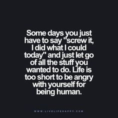 """Some days you just have to say """"screw it, I did what I could today"""" and just let go of all the stuff you wanted to do. Life is too short to be angry with yourself for being human."""
