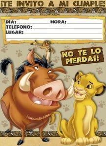 Invitacion De Cumpleanos De El Rey Leon Simba Gratis