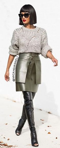 Silver Skirt Outfit Idea by Micah Gianneli-- I find this model VERY striking. Any idea who it is?