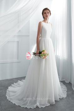 4792c7f6083 Ivory Bateau Neckline Organza Long A-line Wedding Dress with Sheer Lace Back