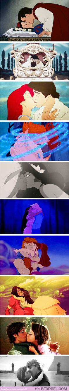 Disney Sure Knew How To Make Romantic First Kisses… I like that a good half of them involve the girl practically throwing herself onto the guy, or instigating the kiss. Walt Disney, Disney Kiss, Disney Nerd, Disney Couples, Disney Dream, Disney Love, Disney Magic, Disney And Dreamworks, Disney Pixar