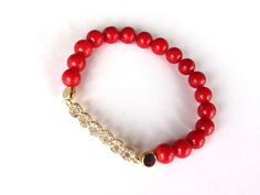 Coral Bracelet Beaded Bracelet Elastic Bracelet Red by GULDENTAKI