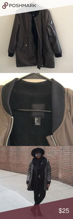 Olive Bomber Jacket. Large Bomber Jacket with teddy material lining inside. There is none in the arms. Worn a few times! Forever 21 Jackets & Coats