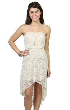 Deb Shops solid lace #strapless sweetheart bodice open knot bow back high low hem $27.57