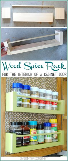 Free DIY Furniture Project Plan: Learn How to Build a Wooden Spice Storage Rack for Cabinet Door Interior