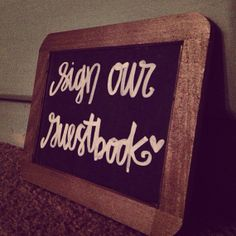 shabby chic wedding - guestbook chalkboard sign on Etsy, $10.00