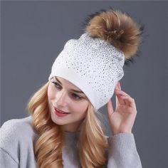 ba99e4043fb Xthree winter hat for women wool knitting hat beanies 15cm real mink ...