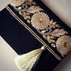 Negro embrague étnico negro yute bolso hecho a por BOHOCHICBYDAMLA
