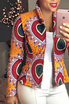 Women Dashiki Long Sleeve Fashion African Print Dashiki Short Casual Jacket Hot Sale Jackets from Women's Clothing on AliExpress African Maxi Dresses, Latest African Fashion Dresses, African Dresses For Women, African Print Fashion, Africa Fashion, African Wear, African Attire, African Prints, Ankara Fashion
