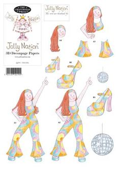 70s Girl - Jolly Nation Decades A4 decoupage
