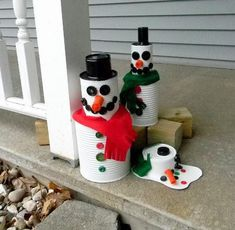 Tin Can Snowman | If you are looking for some new kids crafts ideas, you are in luck. With some felt, buttons and spray paint, you and your family are set to make your creative, fun and cool tin can man.