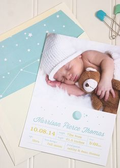 Zodiac Birth Announcement -  Astrological Birth Announcement Photo Card - Constellation Baby Announcement - DEPOSIT