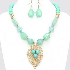 Angular Bead Metal Leaf Filigree Necklace 226348