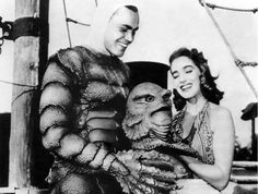 "universalmonsterstribute: ""Ben Chapman (The land creature) and Julie Adams behind the scenes of Creature From The Black Lagoon "" Julie Adams, Tv Movie, Movie Club, Famous Monsters, Scary Monsters, She Wolf, Classic Horror Movies, Black Lagoon, Classic Monsters"